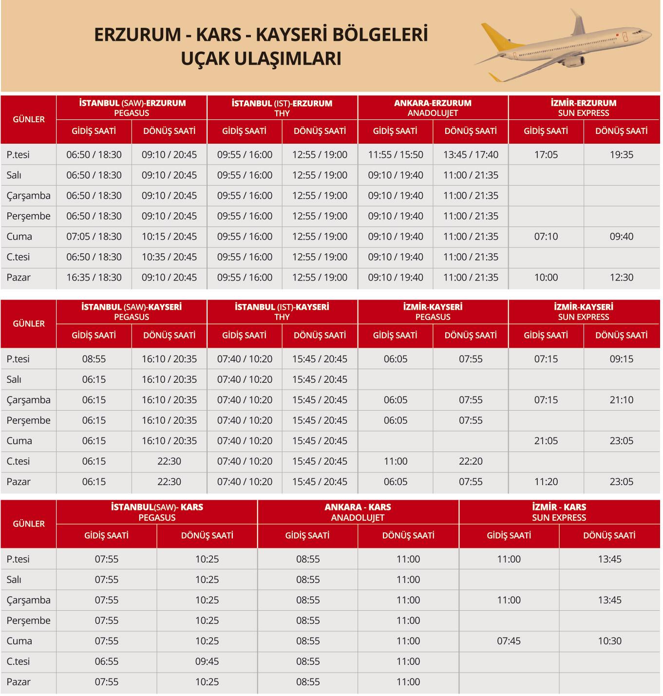 Erzurum, Kars ve Kayseri Bölgelerine Uçak Ulaşımları