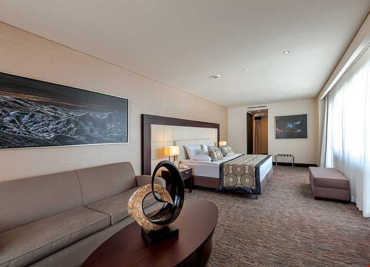 104 m2 genişliğindedir. İki yatak odası, oturma odası ve balkondan oluşur. Suit odalarda konaklayan misafirler için özel bar ve restaurant hizmet vermektedir.