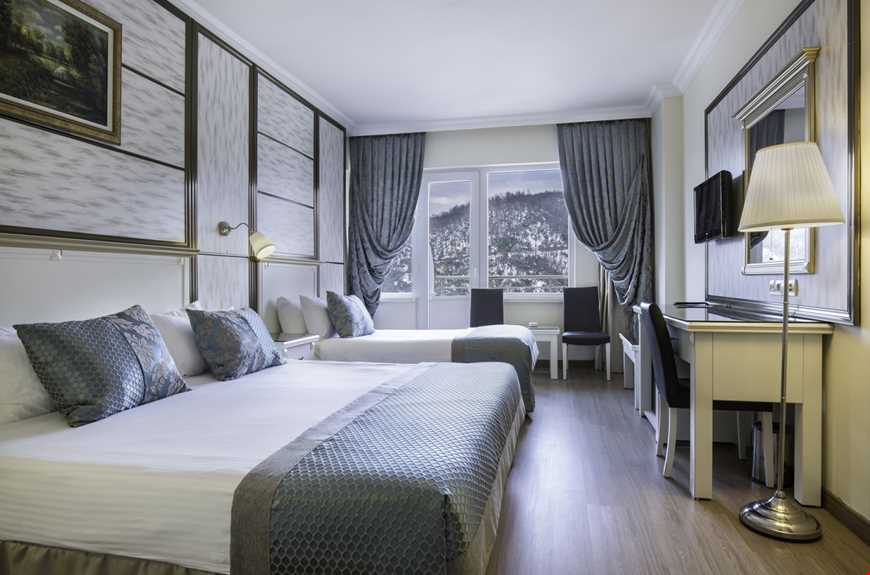 Suit oda, 30 m2 genişliğindedir. 1 tek kişilik yatak ve 1 büyük yatak bulunur.