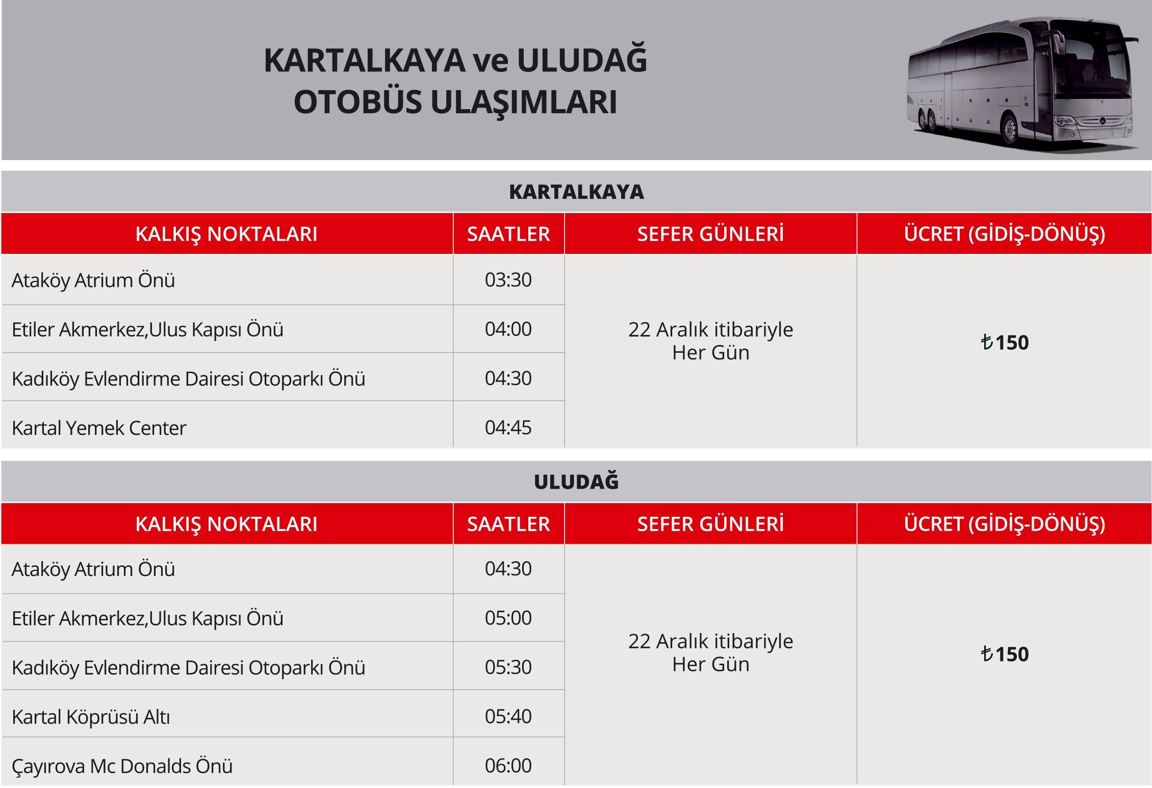 Afyon ve Kartalkaya Otobüs Ulaşımı